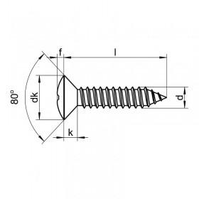 Tornillo 2,9 x 9,5 pavonado cabeza gota de sebo (8 unidades)